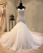 UK White/Ivory/champagne Mermaid Sleeveless Lace Beaded Wedding Dress Size 6-20