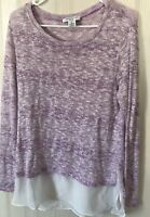 Sweater Large L petite Women's Top Casual Long Sleeves Stretch thin purple top