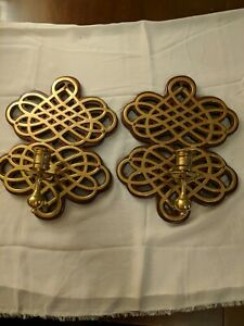 """VTG Ornate Candle Holder Wall Sconce Pair (2) Wood & Brass Home Decor 11 1/2"""" T"""