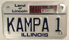 Illinois MOTORCYCLE vanity KAMPA 1 license Plate Tent Camping Caravaning Biker