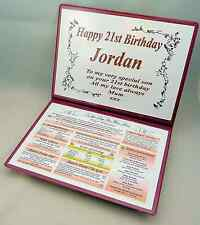PERSONALISED HAPPY 21ST BIRTHDAY GIFT - THE DAY & YEAR YOU WERE BORN KEEPSAKE