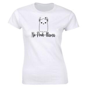 No Prob Llama Funny White T-Shirt for Women