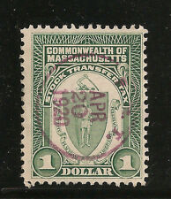$1.00 MASSACHSETTS STOCK TRANSFER  TAX STAMP, SON CANCEL,  FREE SHIPPING IN USA
