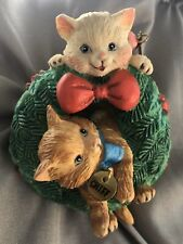 Cats Chief And Miss Playing On Wreath-Holiday Christmas Ornament.