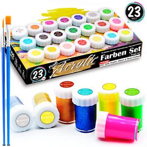 woohoo4u Profi Acryl-Farben Set Künstlerfarben mit zwei Pinsel - [ 21 Farben ]