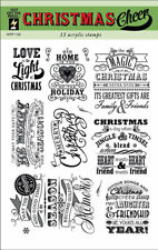 Hot off the Press Christmas Cheer Stamps - Sentiments, Magic, Merry, Be Merry