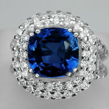 EXCELLENT! AAA KASHMIR BLUE SAPPHIRE MAIN STONE 5.3 CT. 925 SILVER RING SZ 6.25