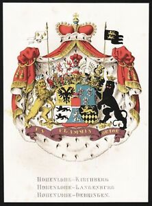 Hohenlohe-Kirchberg Hohenlohe-Langenburg Hohenlohe-Oehringen Wappen 1860