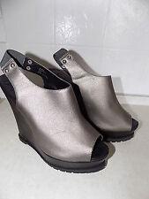 River Island grey pewter leather platform wedge sandals boho hippy festival
