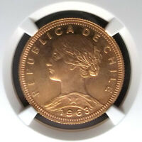 CHILE - 100 PESOS -1963 - NGC MS65 - VERY SCARCE DATE - KM175 - G100P - GOLD
