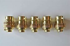 5 BRASS BAYONET FITTING BULB HOLDER LAMP HOLDER EARTHED SHADE RING 1/2 INCH L3