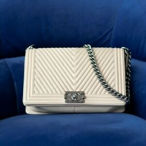 VERIFIED Authentic CHANEL Beige Chevron Quilted Leather Medium Boy Flap Bag
