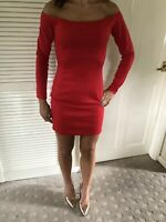 Missguided Red Bardot Mini Bodycon Dress Size 10