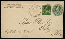 US 1899 #279 on U352 Stationery Cover Fancy Cancel Schell City MO Chicago