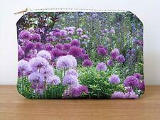 Makeup Bag Purse Cosmetics Gifts Brass White Zipper Flower Floral Garden Allium