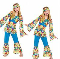 Childrens Hippy Girl Fancy Dress Costume 60's 70's Hippie Kids Outfit 5/13 Years