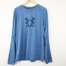 Under Armour Mens Sz Xl Heat Gear Run Long Sleeve Shirt Regular Fit Heather Blue