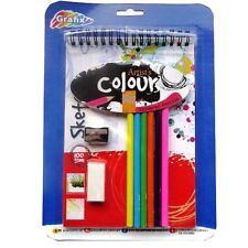 Artists Colour Kit - 6 Colour Pencils, Eraser, Sharpener, A5 Flip Pad