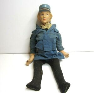 """Antique Composition Working Woman Attendant Stewardess Uniform 16"""" Jointed Doll"""