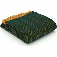 TWEEDMILL TEXTILES 100% Wool Bed Blanket HERRINGBONE EMERALD GREEN MUSTARD THROW