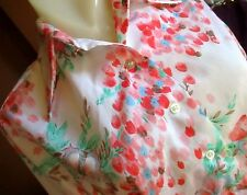 Medium True Vtg 70s Pykettes Pink Butterfly Printed Shiny Collared Top Womens