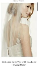 David's Bridal Scalloped Edge Veil w/Bead & Crystal Motif, VWG3121, IVORY ($189)
