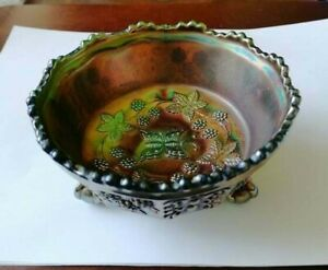 Vintage Carnival Green Butterfly Berry Bowl By Ferney Fenton Claw Footed BI012