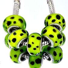 5pcs White Spot Murano Glass Green Lampwork Bead charms Fit European Bracelet