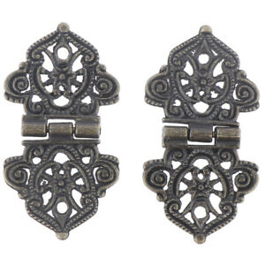 1 Pair Vintage Alloy Butt Hinge Cabinet Door Butt Hinges For DIY Box,24*54mm&ZY