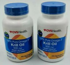 (2) CVS 100% Pure Omega-3 Krill Oil 500mg 60 Soft gels Heart Health Exp10/21