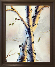 Aspen Forest Birch Trees Nature Wall Decor Brown Rust Framed Picture (19x23)