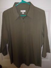 CHRISTOPHER & BANKS button down shirt top Blouse 3/4 sleve rayon/poly  Womens L