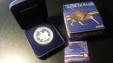 New Zealand 2005 Proof Rowi 1 oz Silver Dollar with Box and COA