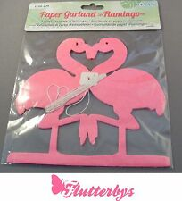 Pretty Pink Flamingo paper Garland 3D/ Party, 2 metres long