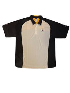 Reebok Play Dry Pittsburgh Steelers XL Polo Shirt NFL Team Apparel White & Black