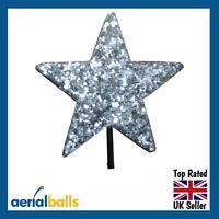 Silver Stardust Glitter STAR Car Aerial Ball Antenna Topper