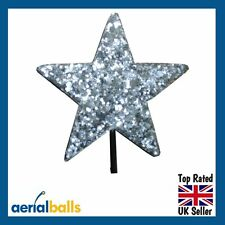 Silver Stardust Glitter STAR Car Aerial Ball Antenna Topper