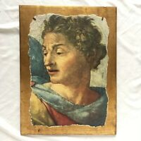 "Vtg Wall Art Italian Affresco on Wood 15"" x 12"" Antique Faux Stone Decor Italy"