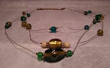 Wire glass bead necklace