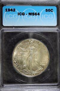 1942 - ICG MS64 Walking Liberty Half Dollar!!  #B19431