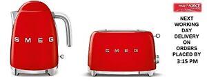 SMEG Retro Red Kettle & 2 Slice Toaster - KLF03RDUK & TSF01RDUK - Brand New