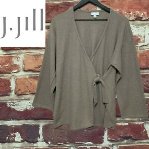 J. JILL TAUPE KNIT WRAP TIE FRONT POCKETED TOP BLOUSE SIZE SMALL