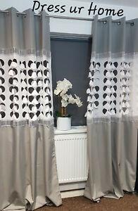 Set of 2 Panels Ready Made Laser Grey Zircons Diamante Curtains Modern Eyelet