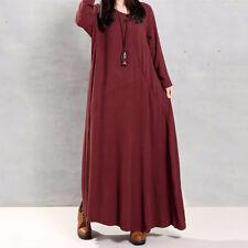 Women Long Sleeve Abaya Jilbab Muslim Maxi Dress Casual Kaftan Loose Dress I9H3