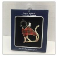 Regent Square Collectible Christmas Ornament Silver Cat Shape European Crystal