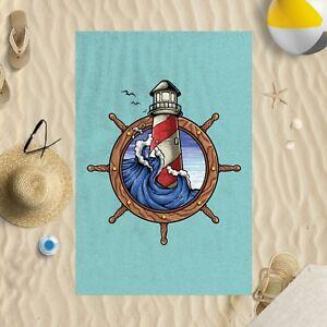 "58""x39"" Retro Lighthouse Microfibre Beach Towel Sun Bathing Pool Swim"