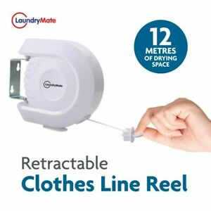 LaundryMate Retractable Laundry Washing Line Reel - Ideal for Indoor/Outdoor