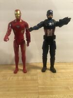 Marvel Avengers Iron Man And Captain America action figures Lot Of 2 2018