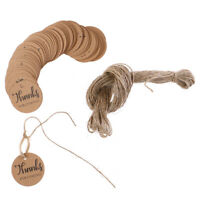 100x Thanks For Coming Labels Hang Tags Blank Kraft Paper with 20m String C