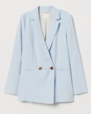 H&M Blue Blazer Size Uk 10 Double Breasted Loose Fit Longline Smart RRP £27.99
